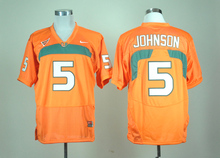 Nike Miami Hurricanes Andre Johnson 5 College Jersey Ice Hockey Jerseys White M,L,XL,XXL,3XL(China)