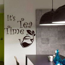 Interior Home Decor Kitchen Vinyl Wall Stickers Qootes It's Tea Time Modern Art Mural Design Removable Adhesive Teapot DecorSY19