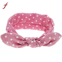 Cute Baby Apparel Accessories Headpiece Headwear Headband Kids Hot Sale Rabbit Ears Elastic Wave Point Bowknot Headband Women(China)