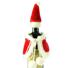 Christmas Wine Bottle Set Santa Claus Button Decor Bottle Cover Cap Clothes Kitchen Decoration for New Year Xmas  Party