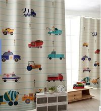 modern kids car printed cloth blackout bedroom curtain colorful cartoon child boy Living room curtains cortinas for window