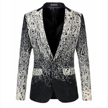 Men Blazers Large Size M-5XL 2017 New Autumn Fashion HIgh Quality Business Dress Casual Dish Silk Suit Jacket F0889(China)