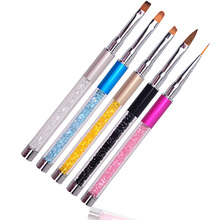 Nail Art Brush Pen Rhinestone Crystal Metal Acrylic Carving Gel Polish Decoration Painting Drawing Salon Liner Fin Tool Manicure(China)