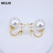 MGUB Double Eyed Pearl Earrings, Fashion Stainless Steel Earrings 3 Earrings Select Gift Free Shipping LH284 LH284