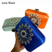New 2017 satin evening bags crystal vintage purse diamond clutch bags bolsos de fiesta evening clutch purses and handbags w495