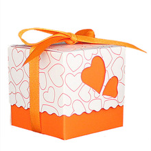 30pcs Love Heart Small Laser Cut Gift Candy Boxes Wedding Party Favor Candy Bags With Ribbon Decor, Orange