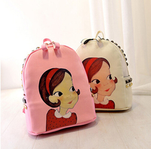 Free shipping / 2015 new / sweet lady / College wind / Rivet / double backpack / cartoon / beauty printing / girl bag