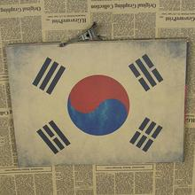 Free shipping Vintage Republic of Korea flag Kraft Paper Poster Wall Art Crafts Sticker for home decor bar coffee room RMTT-020(China)
