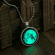 Silver Plated Glowing Necklace Pendant Moon Cabochon Glow In The DARK Art Photo Necklace Glowing Jewelry(China)