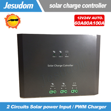 Intelligent Auto 12V/24V 60A/80A/100A Solar Charge Controller 2 Circuits Solar power Input Solar Panel Regulator Automatic(China)
