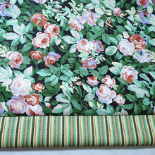 Romantic 50x40cm All Over Green Leaf Rose Flowers & Stripe Printed Cotton Fabric Bundle DIY sewing Doll Cloth Tablecloth(China)