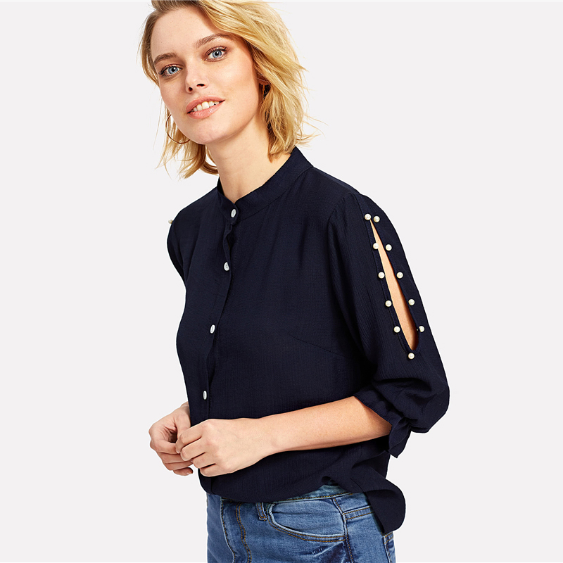 COLROVIE 2018 Spring Stand Collar Pearl Beading Blouse Women 3/4 Sleeve Split Shoulder Plain Top Navy Casual Button Shirt 7