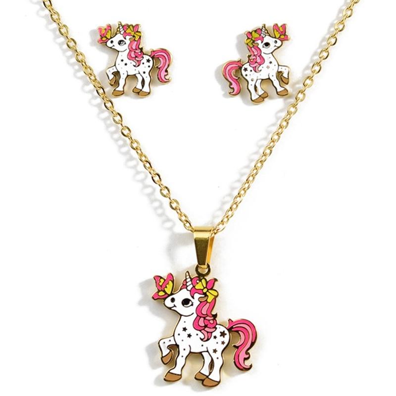 4 Style Animal Jewelry Set Chain Kids Jewelry Cartoon Horse Unicorn Necklace Earring Unicorn Jewellery Sets For Girls