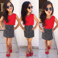 2016 New Arrival Baby Girls Summer Skirt Sets Solid Red Vest + Vintage Dot Printing Skirts Clothes Sets Girls Outfits Set(China)