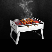 220801/Thickening stainless steel BBQ grill outdoor portable bbq charcoal household folding barbecue box spitrack