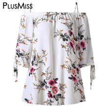 Plus Size 5XL Off the Shoulder Top Women Clothes Floral Print Summer Chiffon Blouse Shirt 2017 Sexy White Blusas Big Size(China)