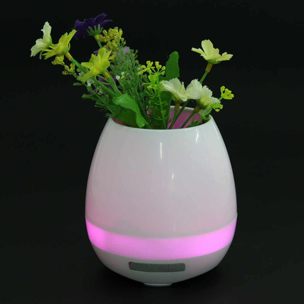Smart Music Touch Wireless Bluetooth Speaker K3 Wireless Music Playing Rechargeable Flower Plant Pots with Night Light