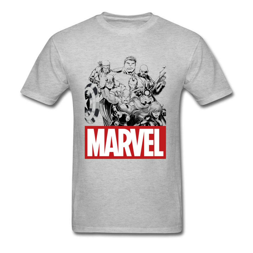 Newest Male Top T-shirts Crew Neck Short Sleeve 100% Cotton Star Wars Marvel Heroes Logo Tops & Tees Print Tops & Tees Marvel Heroes Logo grey
