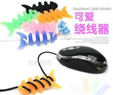 Cute fish bone thicken wrap cable wire tidy earphone winder Organizer holder for headphone MP3, MP4 & Ipod wholesale whcn+