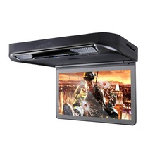 "XTRONS 13.3"" Black Car Roof  mounted Monitor 1080P Video HD Digital Wide Screen Overhead Flip Down DVD Player with USB HDMI Port"