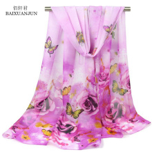 [BAIXUANJUN] 2017 new lady scarf rose pattern printing scarf butterfly printing chiffon silk scarf fashion casual shawl(China)