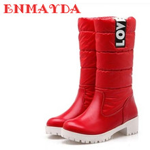 Women Boots High Quality Down Jacket Mid-calf Winter Boots Warm Slip-on Short Plush Boots Square Heel Snow Boots BigSize