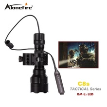 C8 Tactical Gun Flashlight Torch 2200LM CREE XM-L2 LED 5 Modes LED Flash Light Lanterna+scope Mount+remote switch
