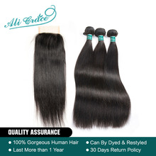 Ali Grace Hair Brazilian Straight Hair 3 Bundles With Closure 100% Remy Human Hair Bundles With Closure 4*4 Middle Free 2 Option(China)