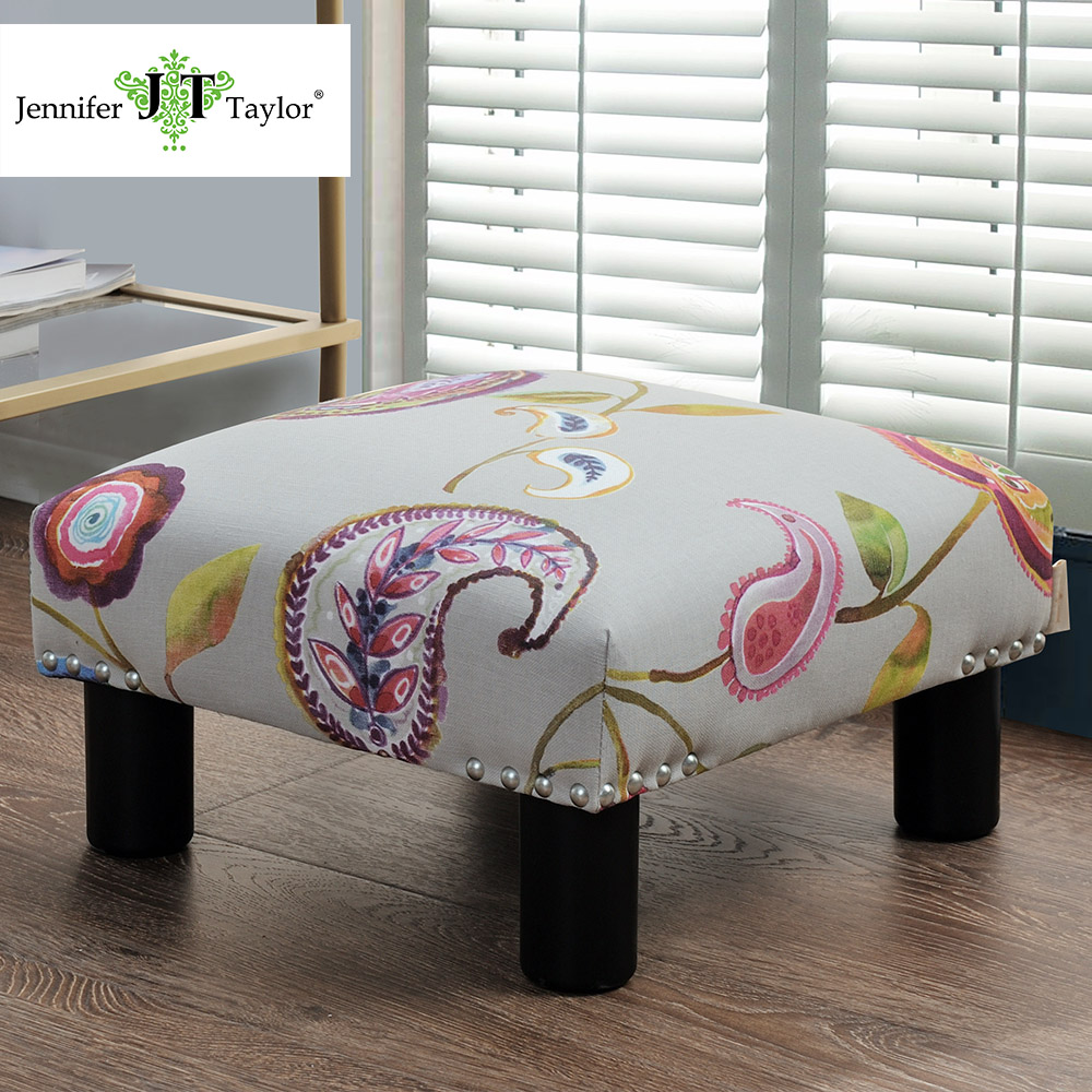 Jennifer Taylor Home, Ottoman, Multicolored, Hand Applied Nail heads, Wooden Legs 66000-856/798/859<br>