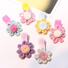 M MISM New Girls Lovely Hairpins Sunflower Knitted Flora Barrettes Hair Ornaments Mini Flower Delicate Hair Clip Accessories