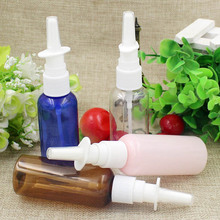 100Pc/Lot 50ml pink blue Transparent Brown Empty Plastic Nasal Spray Bottle Pump Sprayer Mist Nose Spray Pet Refillable Bottles(China)