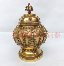 SCY 1117+++Home supplies copper tank decoration crafts Large eight copper pot decoration antique copper pot