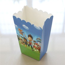 Popcorn Cup Box 6pcs/lots Happy Birthday Party Paw Patrol prints Popcorn Candy Box for kids Favor Gift