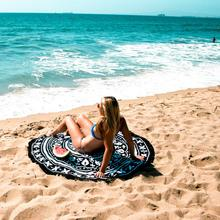 Round Beach Pool Home Shower Towel Blanket Table Shower White Flower Towel Cloth Black Cgiffon 150cm Diamter Yoga Mat Dec 15(China)