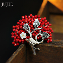 JUJIE Crystal Flower Brooches For Women 2017 Fashion Red Tree Bird  Brooch Pins For Wedding Bouquets Brooches Jewelry Gifts