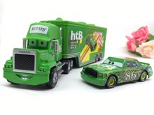 Free shipping Cartoon Cars Pixar 2 Brio Mack Truck and Car Diecast 1:55 Metal Toy Car Model Toy for Children