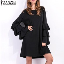 S-5XL ZANZEA Elegant Womens Flared Long Sleeve Mini Dress Casual Loose Autumn Solid Party Shift Dress Vestidos 2017 Plus Size(China)
