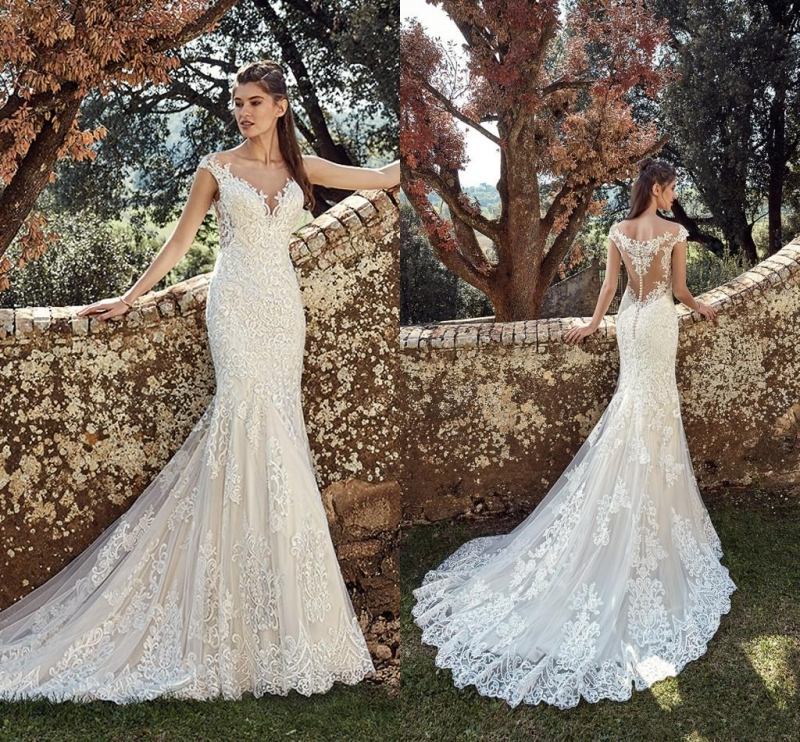 Sexy Beach Full Lace Mermaid Wedding Dresses 2019 Sheer Neck Illusion Button Back Bohemian Wedding Dresses Boho Bridal Gowns