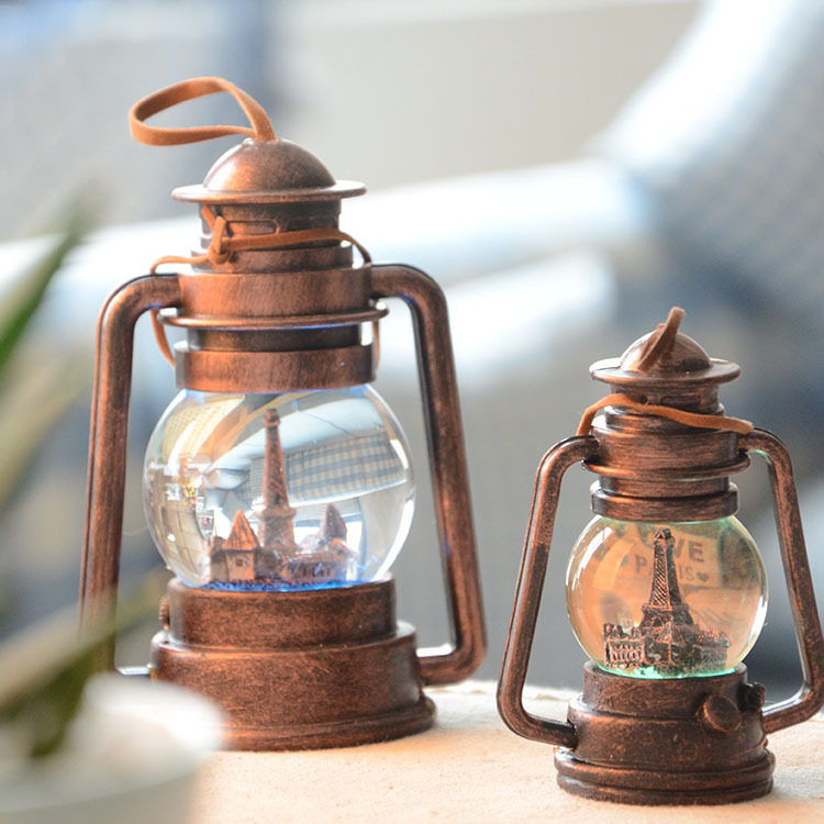 Retro Lanterns Crystal Ball Resin Kerosene Lamp Creative Home Table DecorationChina