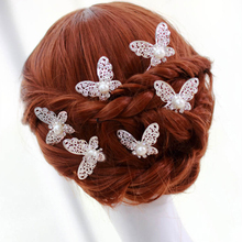 LNRRABC 3pcs Women Alloy Hair Sticks Wedding Bridal Bridesmaid Rhinstone Crystal Hair Pins Clips Butterfly Type U Design Comb(China)
