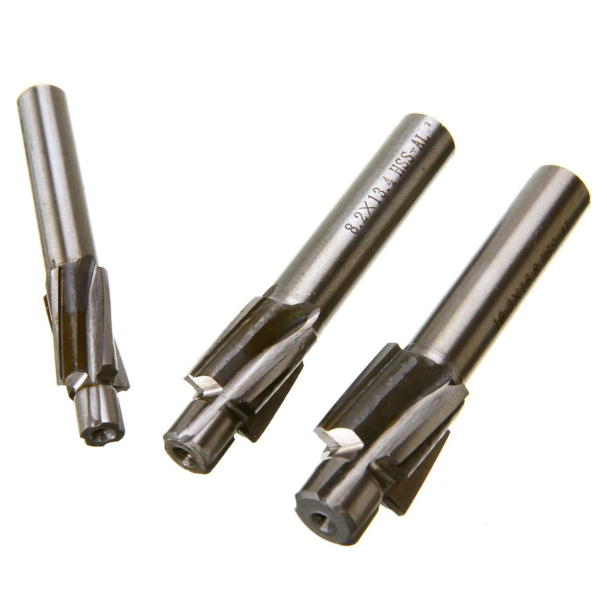 5Pcs M3-M8 HSS Countersink bore End Mill Pilot Slot Milling Cutter CNC Mill Sets