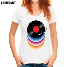 TEEHEART Women Summer Novelty Rainbow Colors Vinyl Records Design T shirt women fashion Tops Hipster Tee PX726(China)