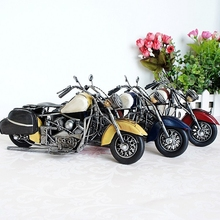 Tinplate Vintage Colorful Motorcycle Collection Gift For Boy Ironwork Showcase Craftwork Handmade Motor Bicycle Model