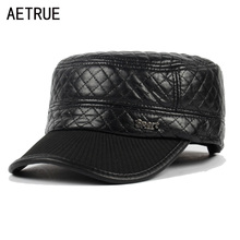 Buy AETRUE Military Hats Men Dad Caps Black Gorras PU Planas Earflaps Winter Hats Men Leather Snapback Mens Military Cap for $7.43 in AliExpress store
