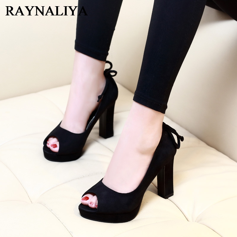 Nice New Spring Peep Toe Black Pumps Square High Heels Women Flock Sandals Sexy Ladies Platform Party Shoes CH-A0030<br>