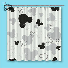 NYAA Black And White Mickey Shower Curtains Dark Colored Waterproof Polyester Fabric Bathroom For Home Decor