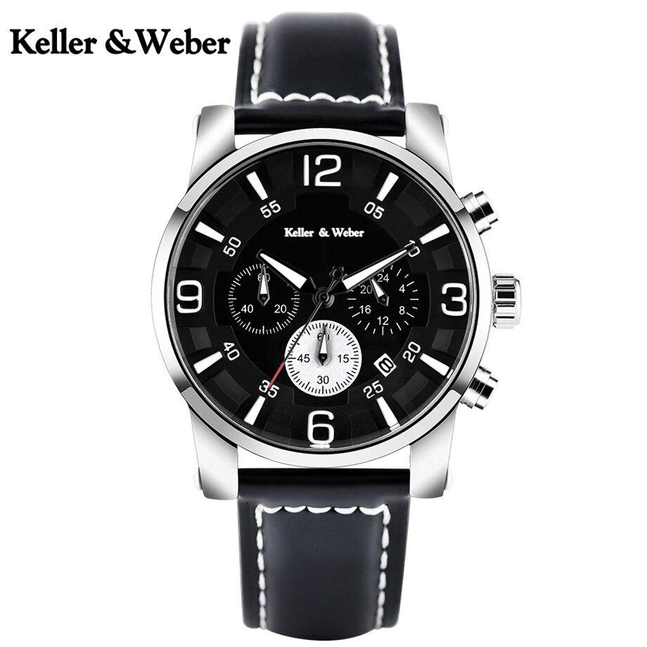 Keller &amp; Weber High Quality Men Quartz Watches Chronograph Dial Genuine Leather Watchband 3 TAM Waterproof KW Sport Watch Male <br>