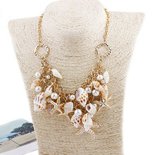 LASPERAL Vintage Gold Color Starfish Shell Pandents Nacklace Beaches Summer Layered Necklace Long Chain Women Statement Necklace(China)