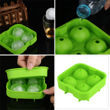 Whiskey Ice Cube Silicone Ball Maker Mold Sphere Mould 4 Holes New Ice Balls Party Brick Round Tray Bar Tool E945