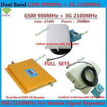 Full Sets New GSM 3G Repeater Dual Band gsm booster 900 2100 Mobile Signal Amplifier GSM + 3G Cell Phone Signal Repeater